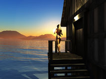 Red Sea Dawn. Render of pretty woman gazing at sunrise over distant mountains across the bay – inspired by photos I took at Sharm El Sheikh on the Egyptian Red Stock Images