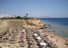 Red sea in Egypt, beach of the hotel Stock Photos