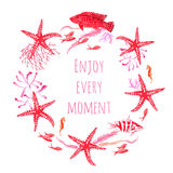Red sea fauna watercolor vector design round frame. All elements are isolated and editable Stock Images