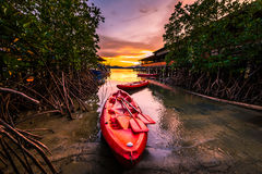 Red sea kayaks in the evening Stock Photos