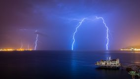 Red Sea Lighting Storm - Eilat Israel Stock Images