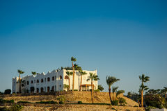 Red sea location. Tropical location white houses arab style in red sea paradise palms and sunny Royalty Free Stock Image