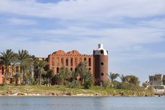 Red Sea Resort - El Gouna (Egypt). A resort view at El Gouna city on the Red Sea southern Egypt. Nice lagoon on a sunny warm winter day Stock Photography