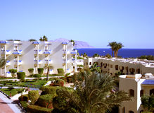 Red sea resort Sharm-el-Sheikh. Modern hotel ashore the Red sea, Egypt Stock Photos