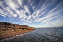 The Red Sea Shore. And chain mountain of Dahab, Egypt Royalty Free Stock Photography