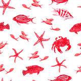 Red sea watercolor seamless vector print. Red sea fauna watercolor seamless vector print Stock Photo