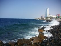 Red sea. Waves rocks suny day Stock Photo