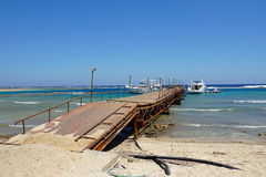 Red sea. Weathered jetty at red sea coast in el quesir Royalty Free Stock Image