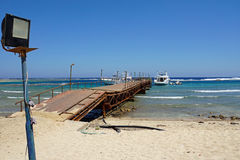 Red sea. Weathered jetty at red sea coast in el quesir Stock Photography