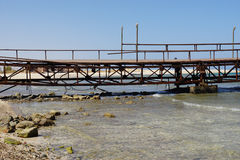 Red sea. Weathered jetty at red sea coast in el quesir Stock Photo