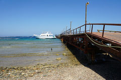 Red sea. Weathered jetty at red sea coast in el quesir Royalty Free Stock Photography