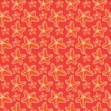 Red seafish seamless pattern. Illustrated vector illustration