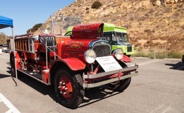 Red 1931 Seagrave Suburbanite 500 GPM Pumper fire engine. Laguna Beach, CA, USA - October 2, 2016: Red 1931 Seagrave Suburbanite 500 GPM Pumper fire engine owned Stock Photos