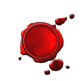 Red seal. Red empty wax seal with stains all along Royalty Free Stock Photography