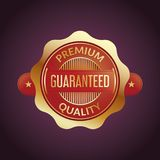 Red seal design with golden border on dark purple background Stock Images