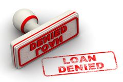 Loan denied. Seal and imprint. Red seal and imprint LOAN DENIED on white surface. Isolated. 3D Illustration stock illustration