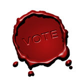Red seal vote. Red wax seal with stains all along for election campaign Stock Photography