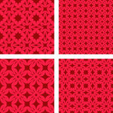 Red seamless background set. Red seamless curved pattern background set Stock Photos