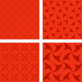Red seamless background set. Red seamless curved pattern background set Royalty Free Stock Images
