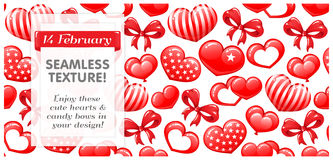 Red SEAMLESS with Candy hearts and bows. Royalty Free Stock Photo