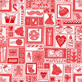 Red seamless Christmas and New Year pattern Stock Photo