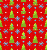 Red seamless Christmas pattern green fir Royalty Free Stock Photos
