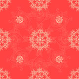 Red seamless classic pattern background, Christmas and New Year greeting card, invitation with snowflake ornaments Royalty Free Stock Photo