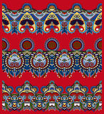Red seamless ethnic floral paisley stripe pattern Royalty Free Stock Photography