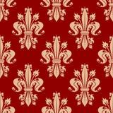 Red seamless fleur-de-lis pattern of royal lilies Stock Photography