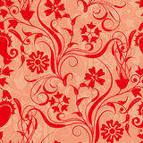 Red seamless flower damask pattern Stock Image