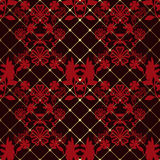 Red seamless lace pattern on black Stock Photography