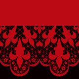 Red seamless lace pattern on black Stock Image