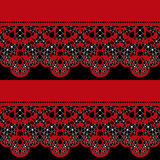 Red seamless lace pattern on black Royalty Free Stock Image