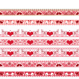 Red seamless lace pattern with hearts on white Stock Image