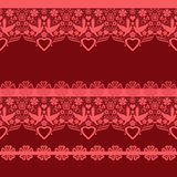 Red seamless lacy lace pattern Royalty Free Stock Image