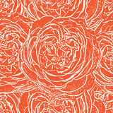 Red seamless monochrome pattern with roses. Royalty Free Stock Photography