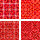 Red seamless mosaic pattern design background set. Red seamless triangle mosaic pattern design background set Stock Images