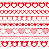 Red seamless paper garlands from hearts set Stock Image