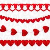 Red seamless paper garlands from hearts Valentine on white Stock Photo