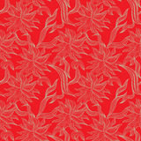 Red seamless pattern with floral ornament Royalty Free Stock Photography