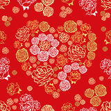 Red seamless pattern with flower hearts Stock Photo
