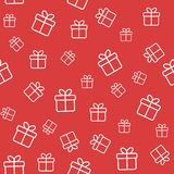 Red seamless pattern with gift boxes Royalty Free Stock Photos
