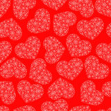 Red seamless pattern with hearts Stock Images