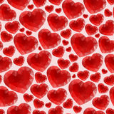 Red seamless pattern made of bright hearts Royalty Free Stock Images