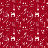 Red seamless pattern-medical items Stock Images