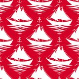 Seamless pattern with sailboats and anchors. Red seamless pattern with sailboats and anchors Stock Image