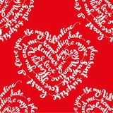 Red seamless pattern from by St. Valentine`s Day Stock Photography