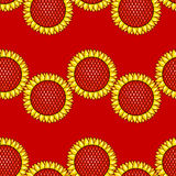 Red seamless pattern with sunflowers Stock Images