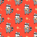 Red Seamless Pattern With Raccoon And Chocolate Cookies. Stock Images