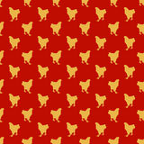 Red Seamless Pattern with Yellow Roosters Chinese New Year Theme. Vector illustration, nature and holiday themed texture royalty free illustration